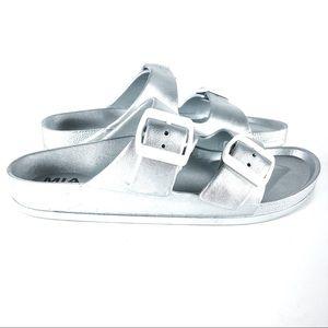 Mia Silver Metallic Jasmin Slid-on Sandals Dual Bk